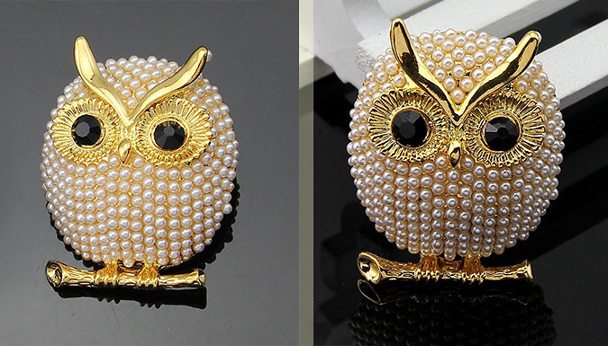 Silver or Gold Plated Faux Pearl Owl Brooch