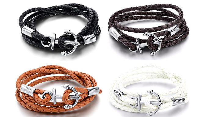 Mens LeatherBraided Anchor Bracelets