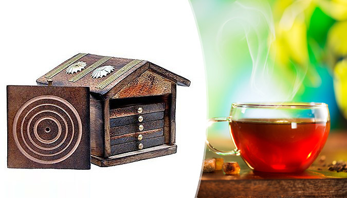 Traditional Handmade Hut Tea Set with 6 Coasters