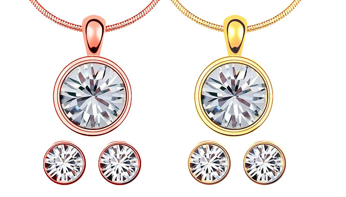 2-Piece 18K Plated Swarovski Elements Solitaire Set - 2 Colours