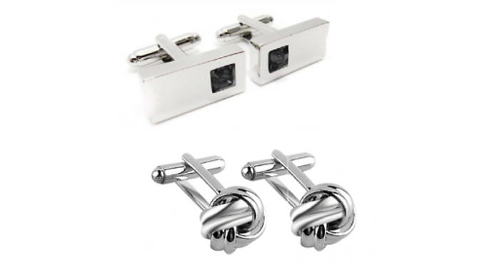 Sterling Silver Plated Cufflink Set - 2 Pairs