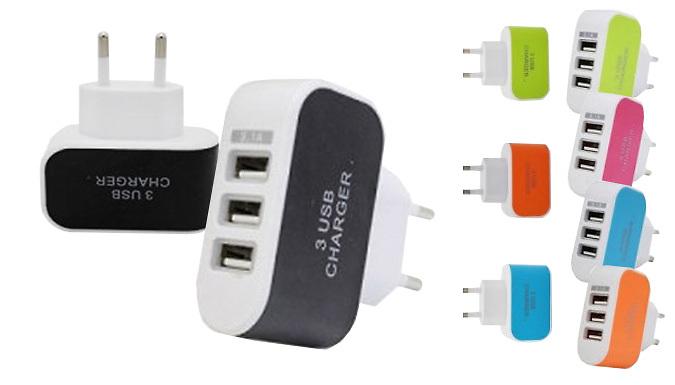 3Port USB EU Plug Travel Adapter  5 Colours