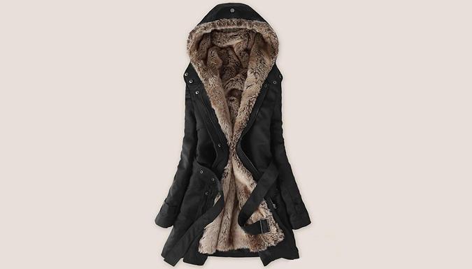 Faux Fur-Lined Parka Jacket - Beige or Black
