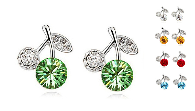 18K White Gold Plated Crystal Apple Earrings