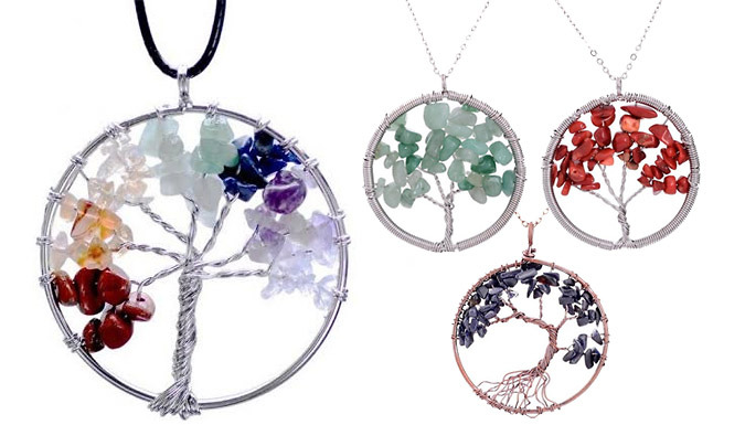 Chakra Tree of Life Necklaces - 4 Natural Stone Designs