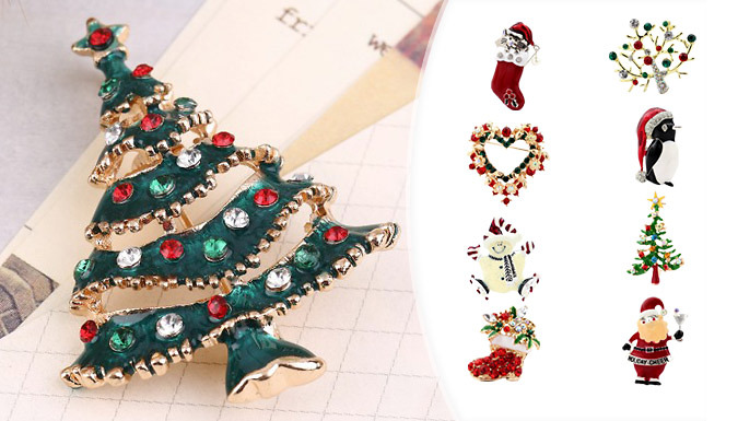 Christmas Crystal Brooch - 9 Designs