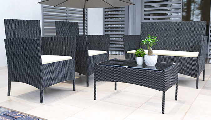 4-Piece Rattan Garden Set With Cushions - 2 Colours from GoGroopie