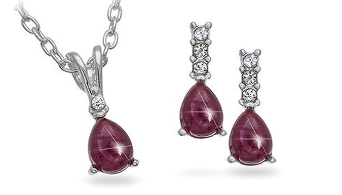 Genuine Ruby and Rhinestone Silvertone Pendant and Earrings Set