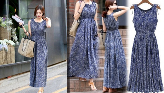 Pleated Floral Maxi Dress  5 Sizes