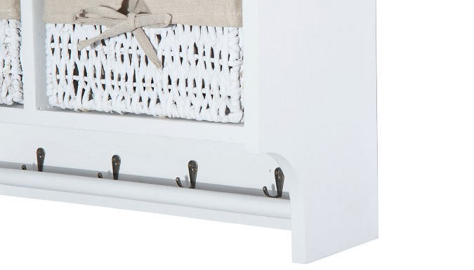 Wall Mounted Coat Hook Storage Unit with Baskets - 3 Colours