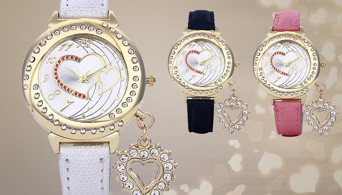 DDDeals - Crystal Heart Charm Watch - 3 Colours