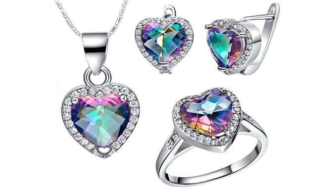 DDDeals - 18K White Gold-Plated Simulated Mystic Topaz Jewellery Set