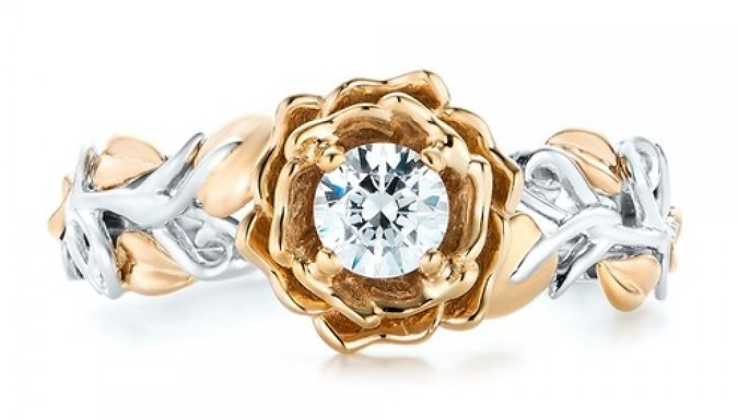 Floral Ring with Crystals from Swarovski