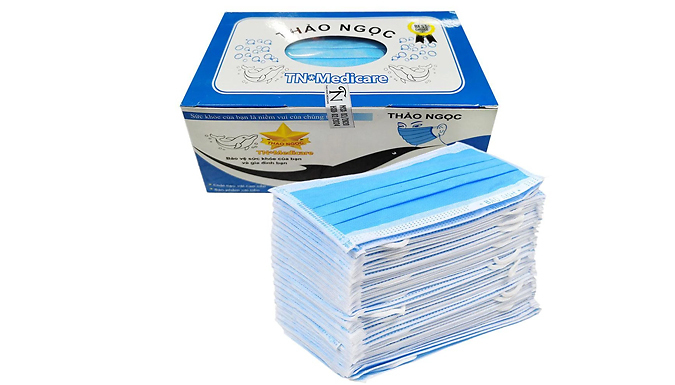 50-Pack of Disposable 3-Ply Face Masks