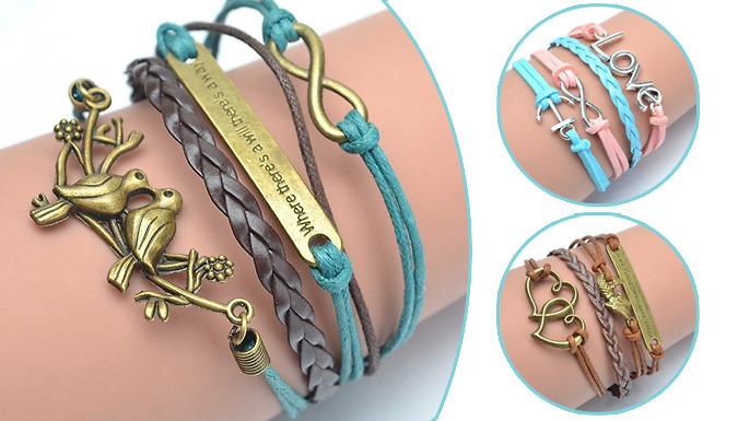 PU Leather Weaved Bracelets  3 Designs