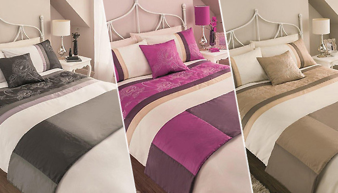 5Piece Duvet Cover Set with Runner  3 Colours