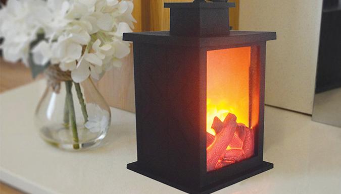 LED Carbon Fire Flame Lantern