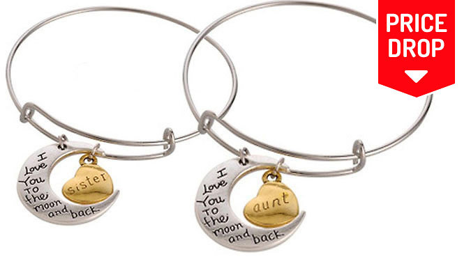Family Themed 'I Love you to the Moon and Back' Bracelet