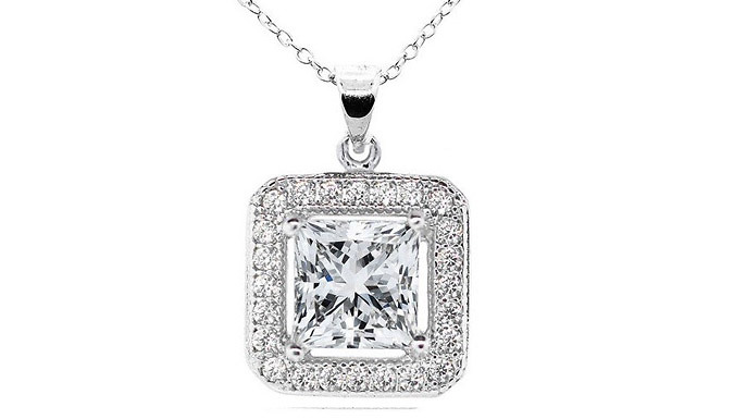 18K White Gold-Plated Square-Shaped Pendant with Swarovski...