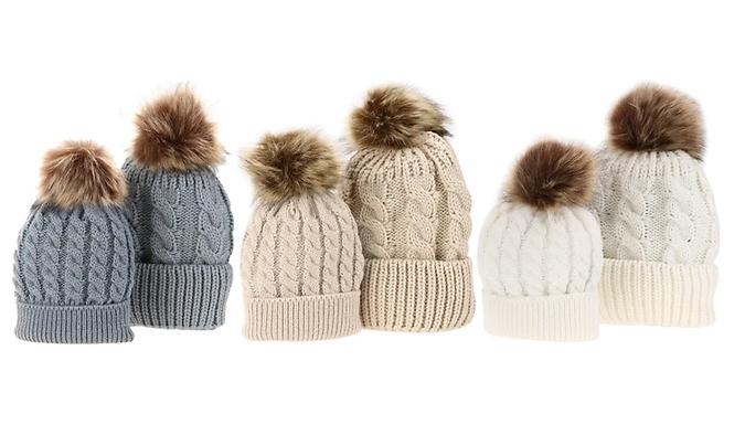 Matching Mum & Baby Pom Pom Hat Set - 5 Colours