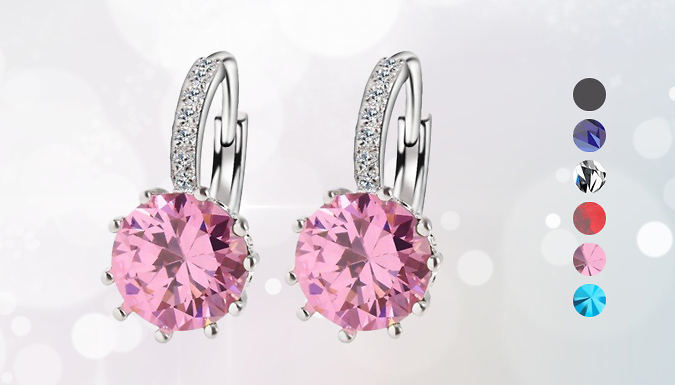 Swarovski Elements Crystal Hoop Earrings - 6 Colours
