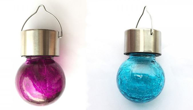 1, 2 or 4-Pack of Solar Hanging Cracked-Ball Lantern Lights - 6 Colours