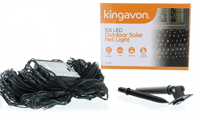 100-LED Solar Weatherproof Net Lights - 1 or 2-Pack