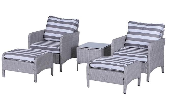 Outsunny 5-Piece Rattan-Effect Patio Chair Set - 2 Colours