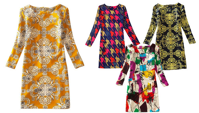 Get Vibrant Print Shift Dress - 8 Styles from