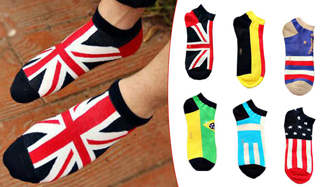 Get 6-Pack of Men's Flag Ankle Socks - 1 or 2 from