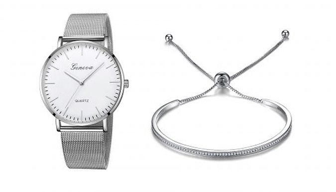 Geneva Classic Watch & Bracelet Set Made With Crystals From Swarovski - 3 Colours