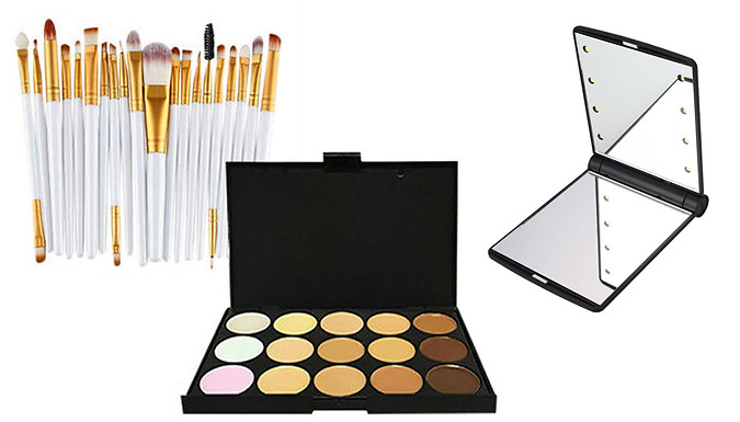 Glamza Contour Palette, Brush Set & Compact Mirror