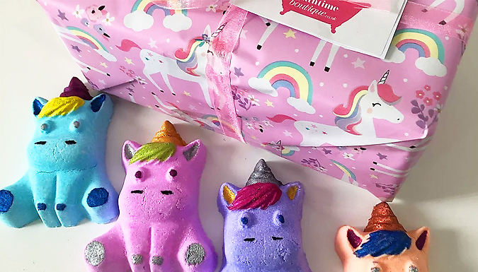 'Shimmer & Sparkle' 4-Piece Handmade Unicorn Bath Bomb Gift Set