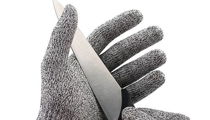 2 Pairs of Cut Resistant Safety Gloves - 4 Sizes