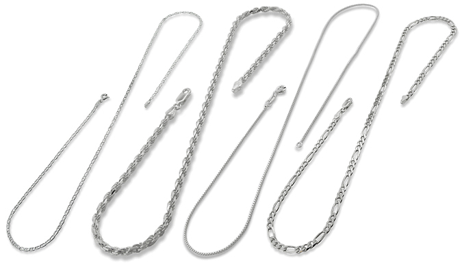 Silver-Coloured Chain - 6 Sizes, 4 Styles