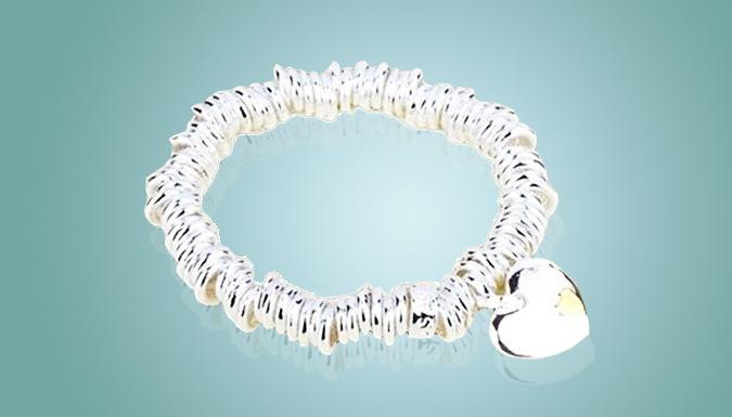 18k White GoldPlated Heart Charm Bracelet