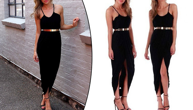Plunge Wrap-Front Maxi Dress With Gold Belt