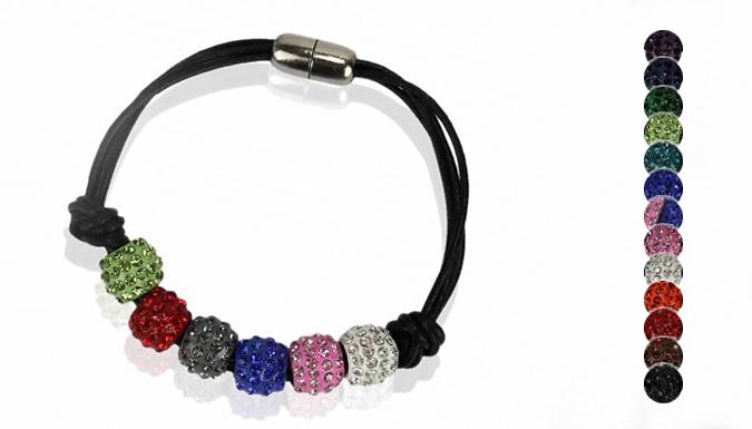 Beaded Crystal Charm Bracelet - 13 Colours