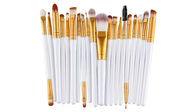 20-Piece Make-Up Brush Set & 10-Colour Eyeshadow Palette - White or Black Brush