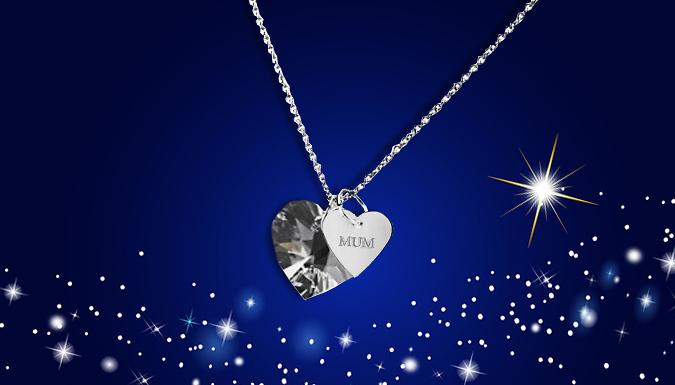 \'Mum\' Swarovski Elements Crystal Heart Necklace