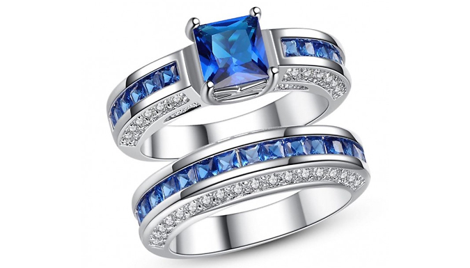 2.5ct Created Sapphire Ring with FREE Earrings in 2 Colours - Free Delivery!