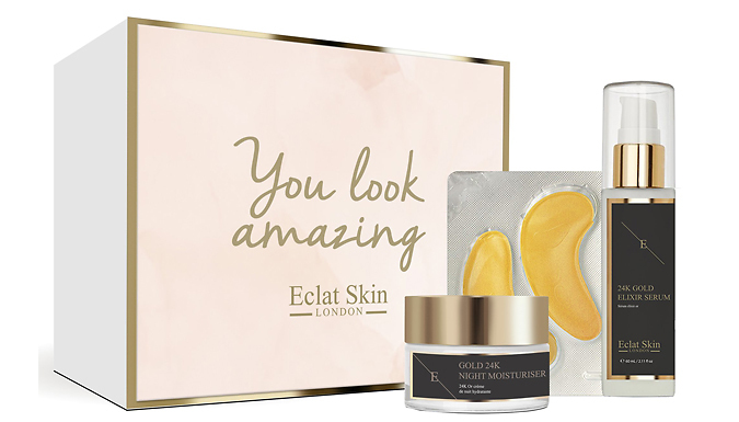 24K Gold Anti-Wrinkle Skincare Gift Set - Includes 3 Products