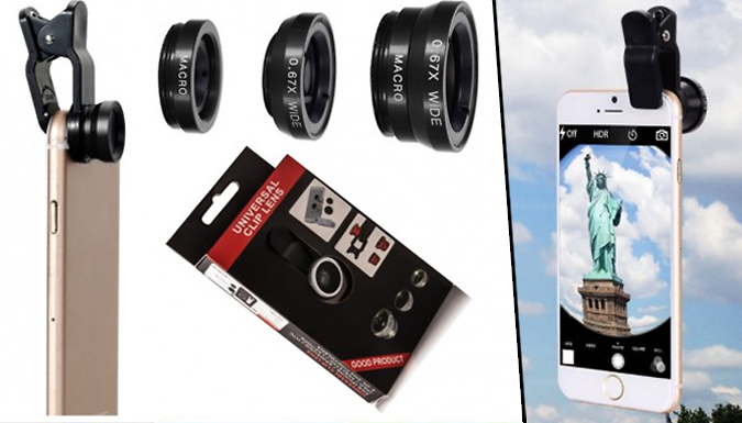 Universal 3in1 ClipOn Phone Camera Lens Kit  Fish Eye Macro and Wide Angle