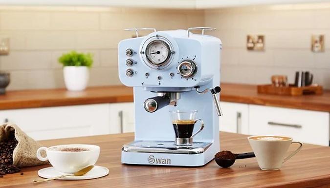 Swan Retro-Style Espresso Coffee Machine - 4 Colours