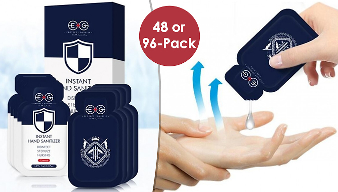 48 or 96-Pack of Instant Squeezy Hand Sanitiser Sachets from Home Season