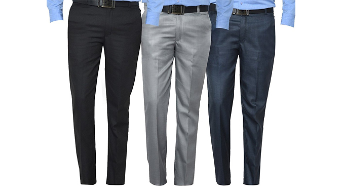 3-Pack of Mens Formal Trousers - 3 Colours & 6 Sizes from GoGroopie