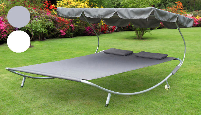 DDDeals - Double Outdoor Sun Lounger With Canopy - 2 Colours