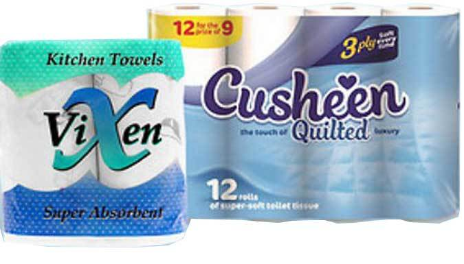 Cusheen 3Ply Toilet Roll and Vixen 2Ply Kitchen Roll  2 Options