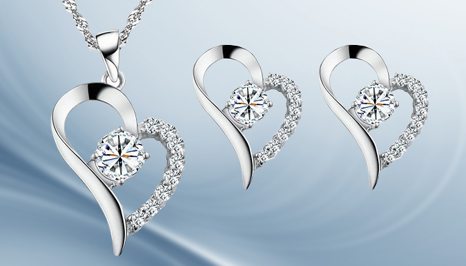 18ct White Gold Plated Heart Necklace and Earrings with Free Gift