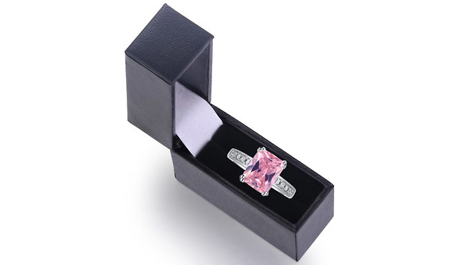 2.5ct Pink Created Sapphire Rhodium-Plated Ring
